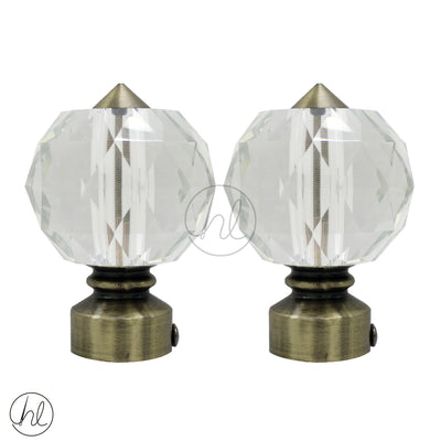 FINIAL PRISM CRYSTAL (2 PER PACK) (25MM) (ANTIQUE)