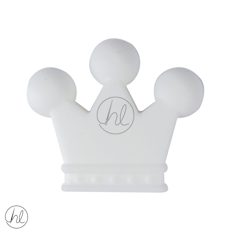 SILICONE BEAD CROWN WHITE EACH