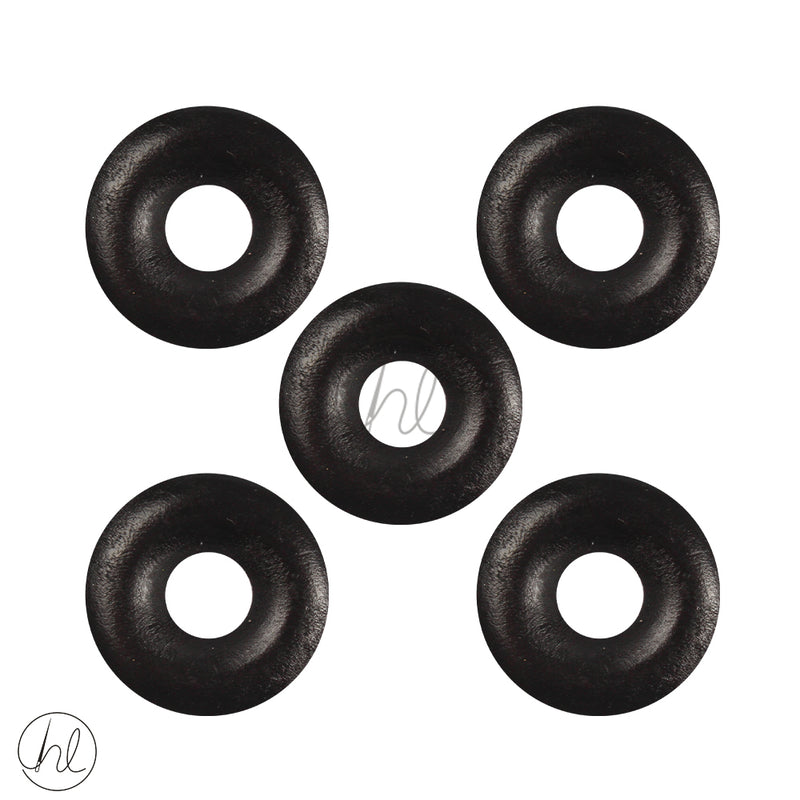 WOODEN BEADS RING BLACK 5 PER PACK