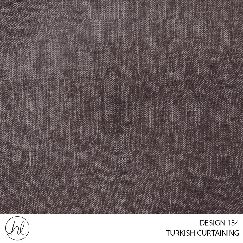 TURKISH CURTAINING MALAWI BLOCKOUT (DESIGN 134) (280CM) (PER M) BROWN