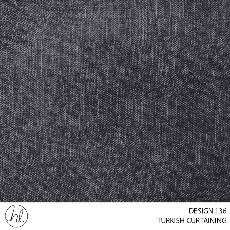TURKISH CURTAINING MALAWI BLOCKOUT (DESIGN 136) (280CM) (PER M) CHARCOAL
