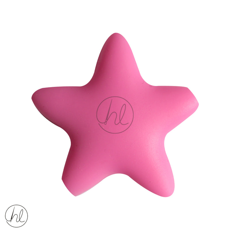 SLICONE BEAD STAR PINK