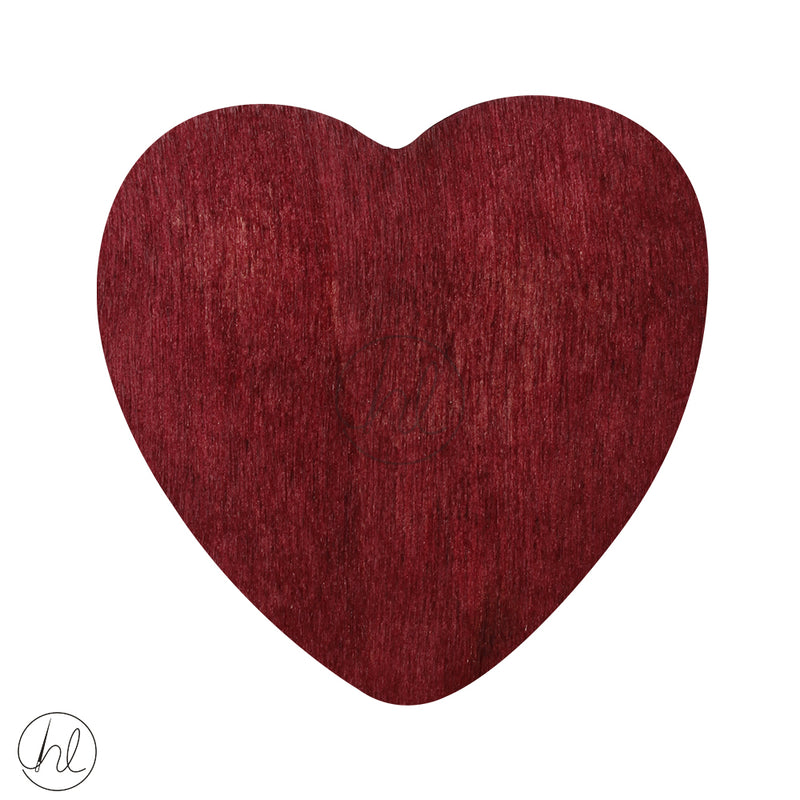 WOODEN BEAD HEART MAROON EACH