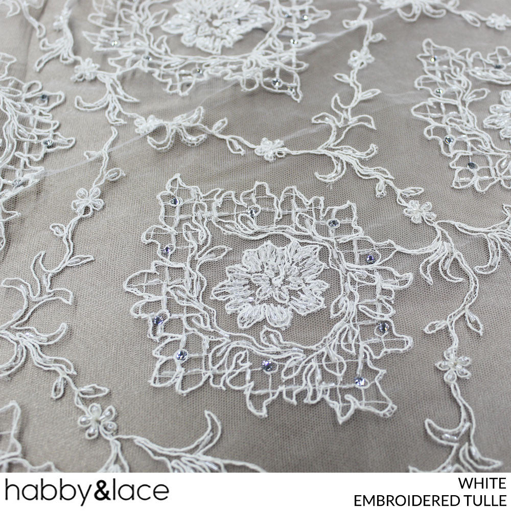 EMBROIDERED TULLE (WHITE) (PERM)