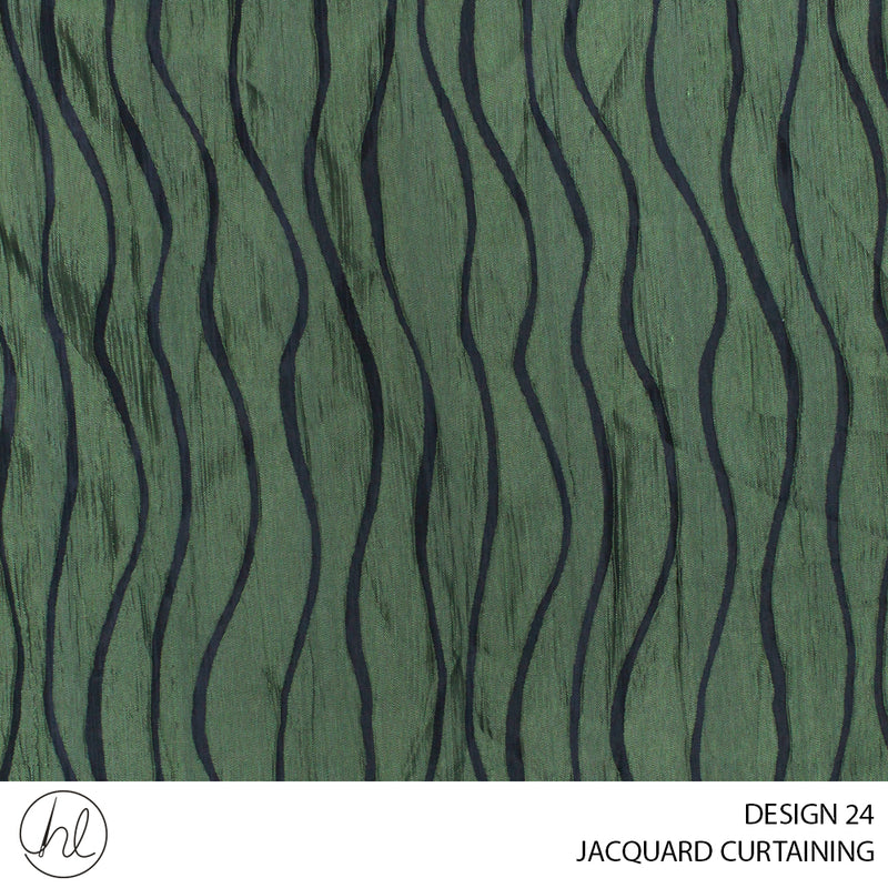 JACQUARD CURTAINING (DESIGN 24) (140CM) (PER M) GREEN