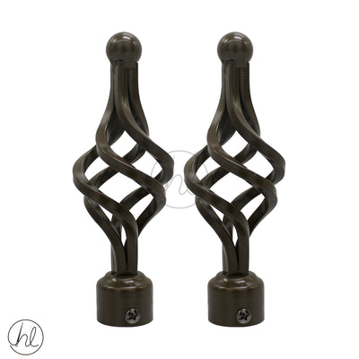 FINIAL SPIRAL (2 PER PACK) (25MM) (BRONZE)