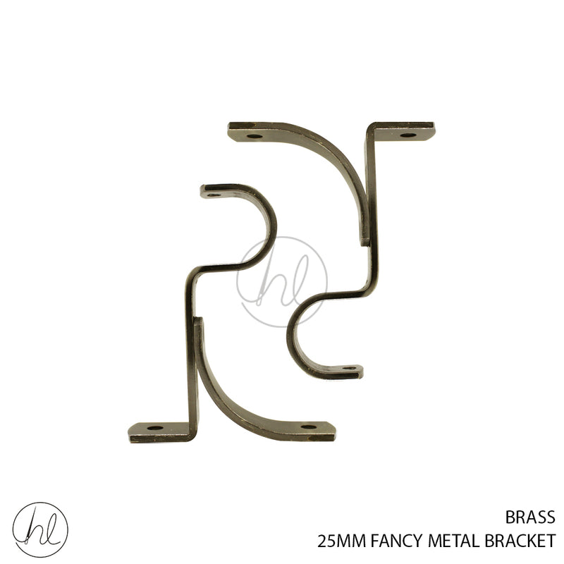 PAPINI 25MM FANCY METAL BRACKET (2 P/PACK)(PAB129T) BRASS