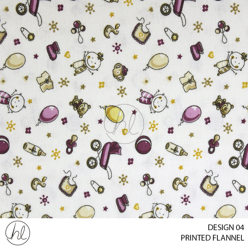 PRINTED KIDDIES FLANNEL (DESIGN 04) (150CM) (PER M) CREAM/PINK