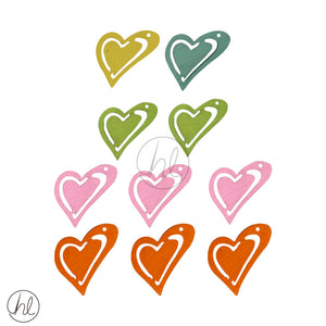 WOOD HEART DECORATIONS  (10 P/PACK)