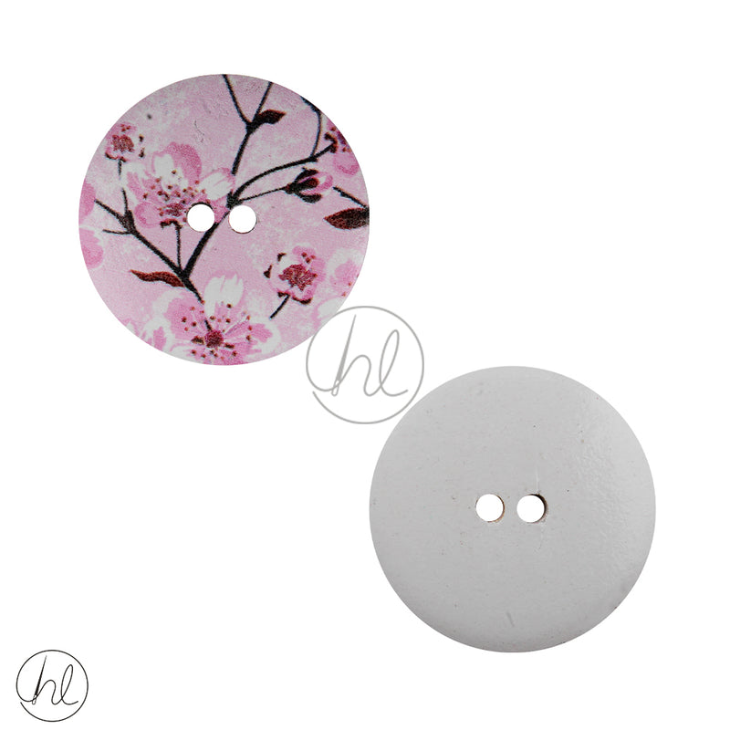 FANCY WOODEN BUTTON PINK FLORAL