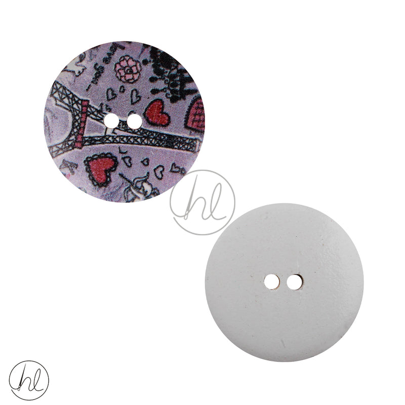 FANCY WOODEN BUTTON PURPLE PARIS