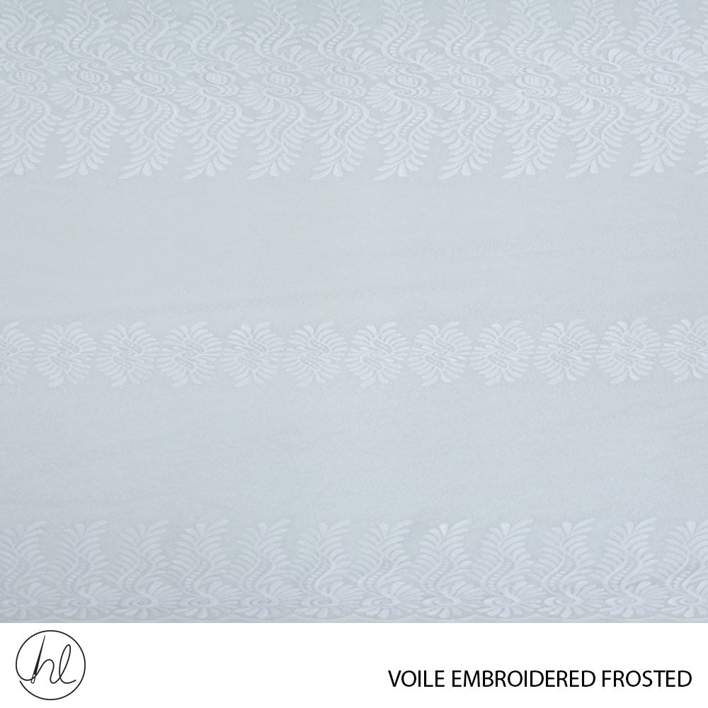 VOILE EMBROIDERED FROSTED (DESIGN 03) ( 280CM) (PER M) (WHITE)