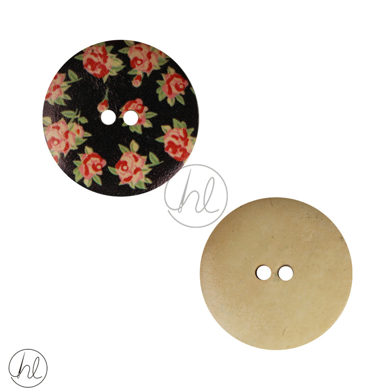 FANCY WOODEN BUTTON BLACK FLORAL