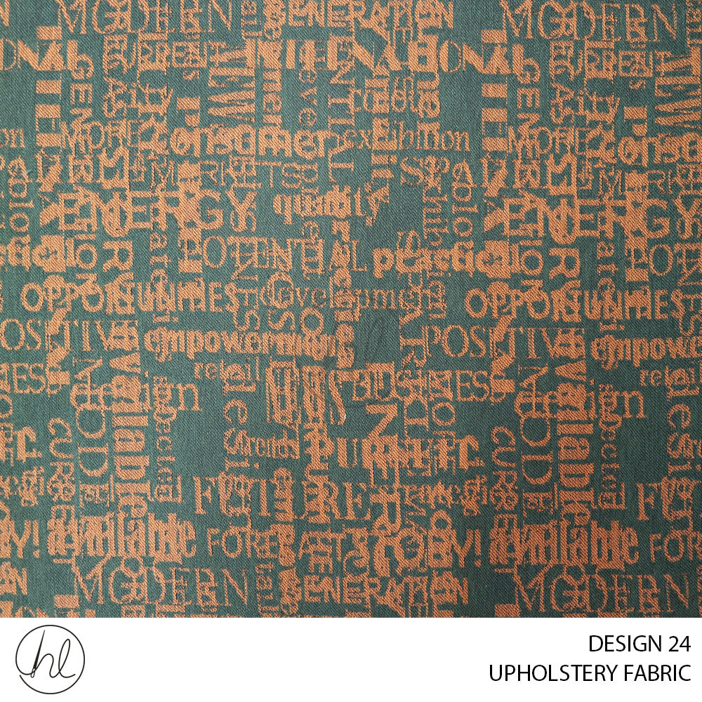 UPHOLSTERY FABRIC (TEXT) (DESIGN 24) (140CM) (PER M) (ORANGE)