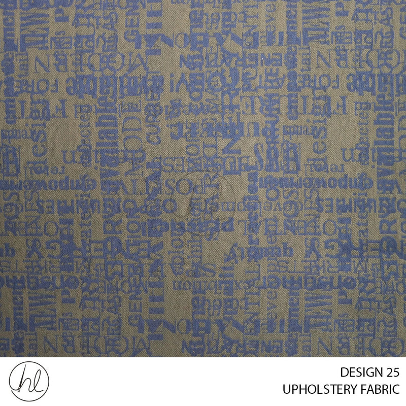 UPHOLSTERY FABRIC (TEXT) (DESIGN 25) (140CM) (PER M) (BLUE)