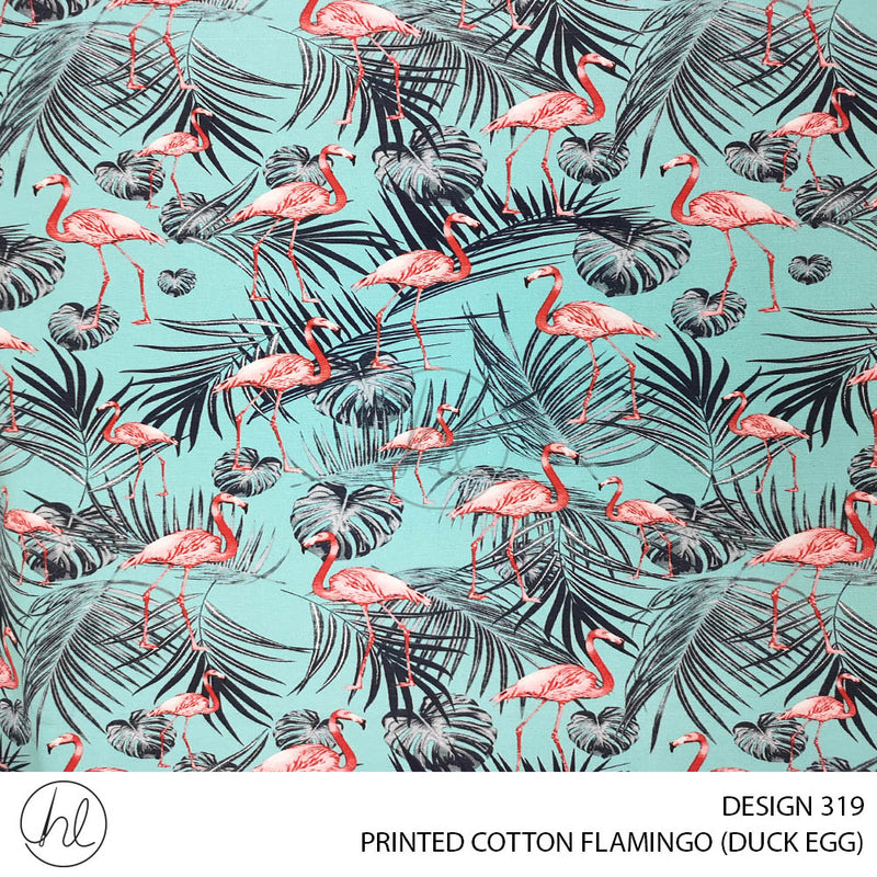 PRINTED COTTON FLAMINGO (DESIGN 319) (150CM)