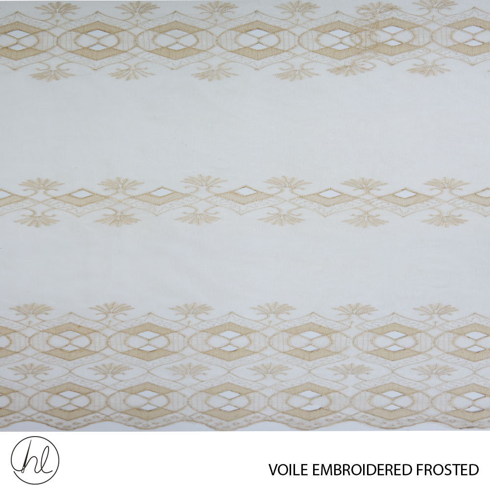 VOILE EMBROIDERED FROSTED (DESIGN 05) ( 280CM) (PER M) (CREAM/GOLD)
