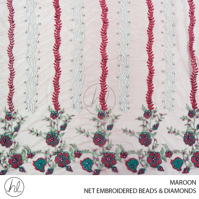 NET EMBROIDERED BEADS & DIAMONDS (MAROON) (130CM) (PER M)