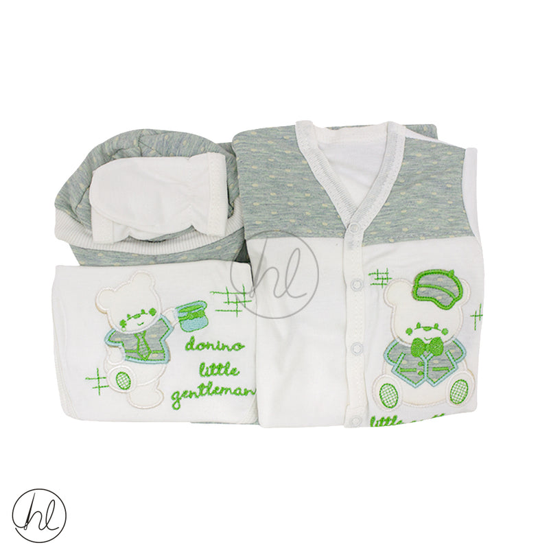 5 PIECE EMBROIDED BEAR BABY SET