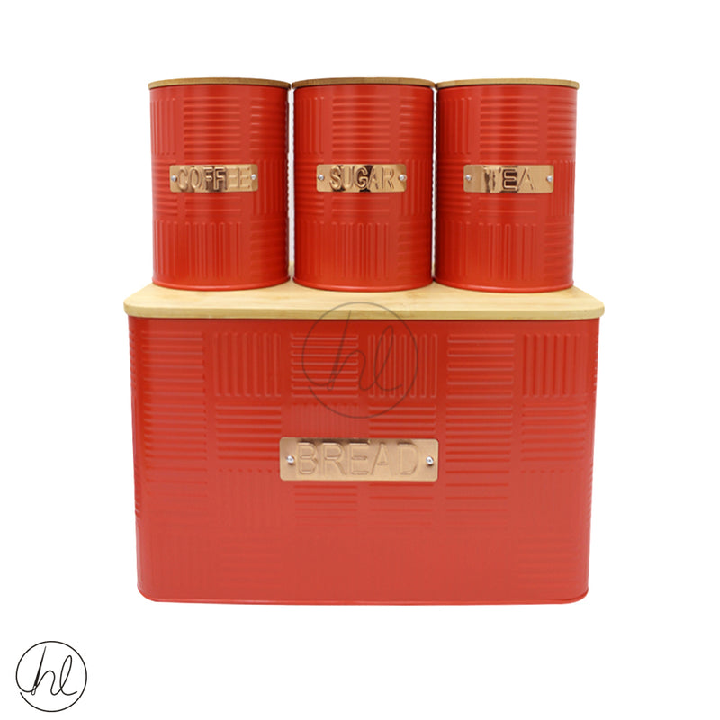 WOODEN COVERED BREAD BIN AND 3 PIECE CANISTER SET