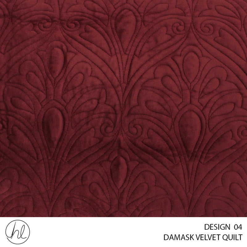 3 PIECE DAMASK VELVET QUILT (260X240) (DESIGN 04)