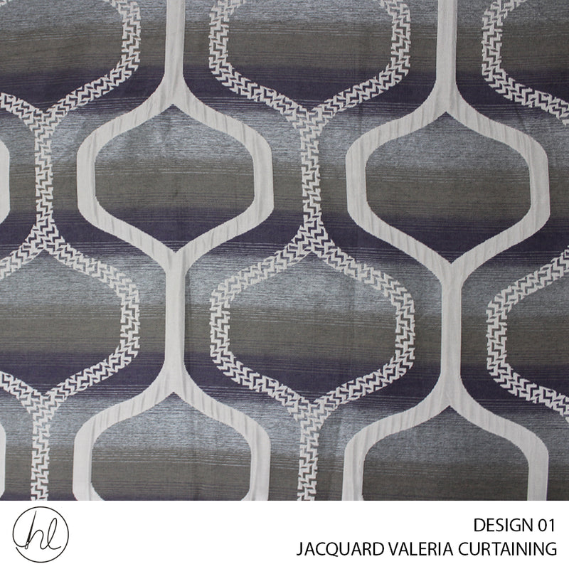 JACQUARD VALERIA CURTAINING (DESIGN 01) (280CM) (PER M) (GRAPE)