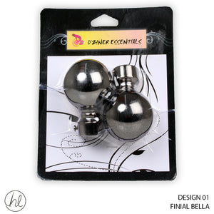 FINIAL BELLA (DESIGN 01) (25MM) (BLACK NICKEL)