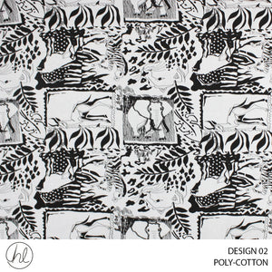 POLY-COTTON (ANIMAL) (DESIGN 02) (150CM) (PER M) (BLACK AND WHITE)