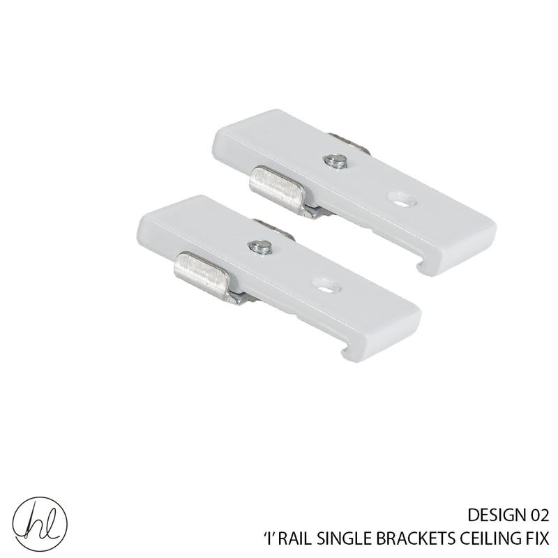 """I"" RAIL SINGLE BRACKETS CEILING FIX (DESIGN 02) (WHITE)"