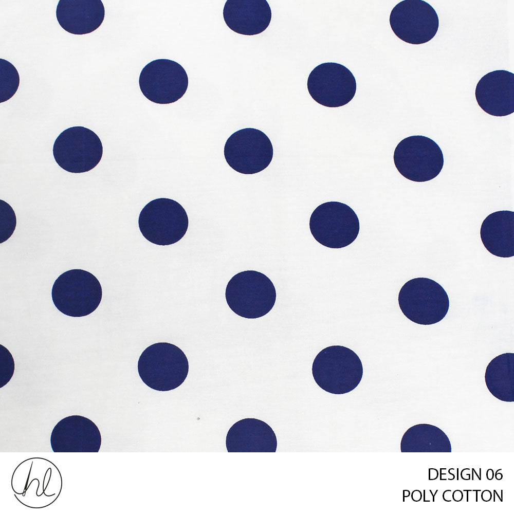 POLY-COTTON (DESIGN 06) (240CM) (PER M) (NAVY)