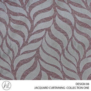 JACQUARD CURTAINING (COLLECTION ONE) (DESIGN 08) (280CM) (PER M) (RED/MAUVE)