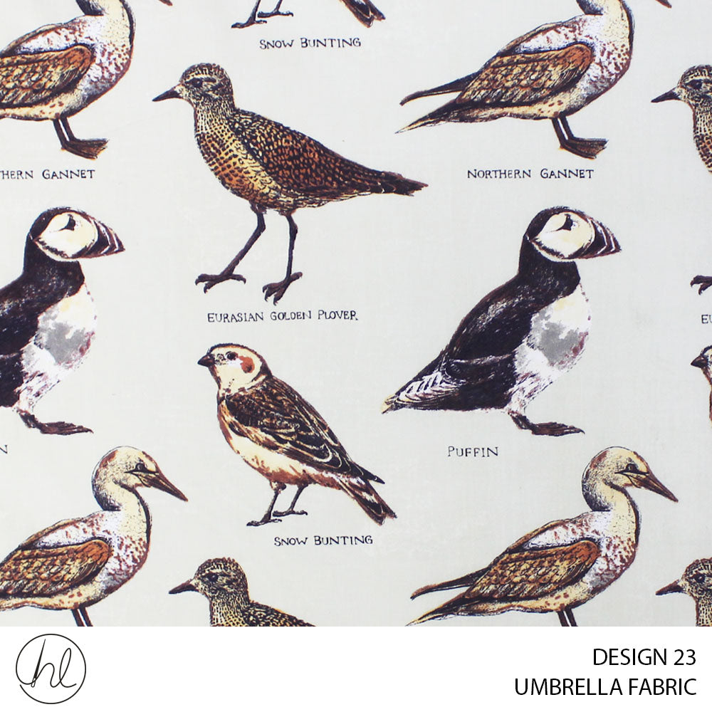 UMBRELLA PRINTS (BIRDS OF ALASKA) (DESIGN 23) (235CM) (PER M) (STONE)