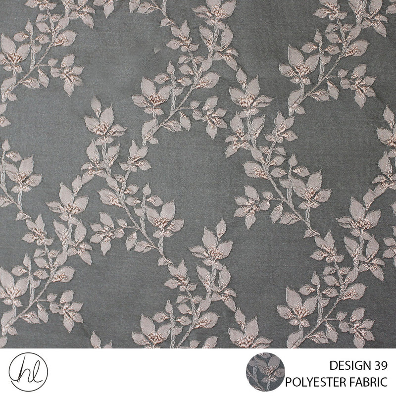 POLYESTER FABRIC (DESIGN 39) (280CM) (PER M) (BROWN/DUSTY PINK)