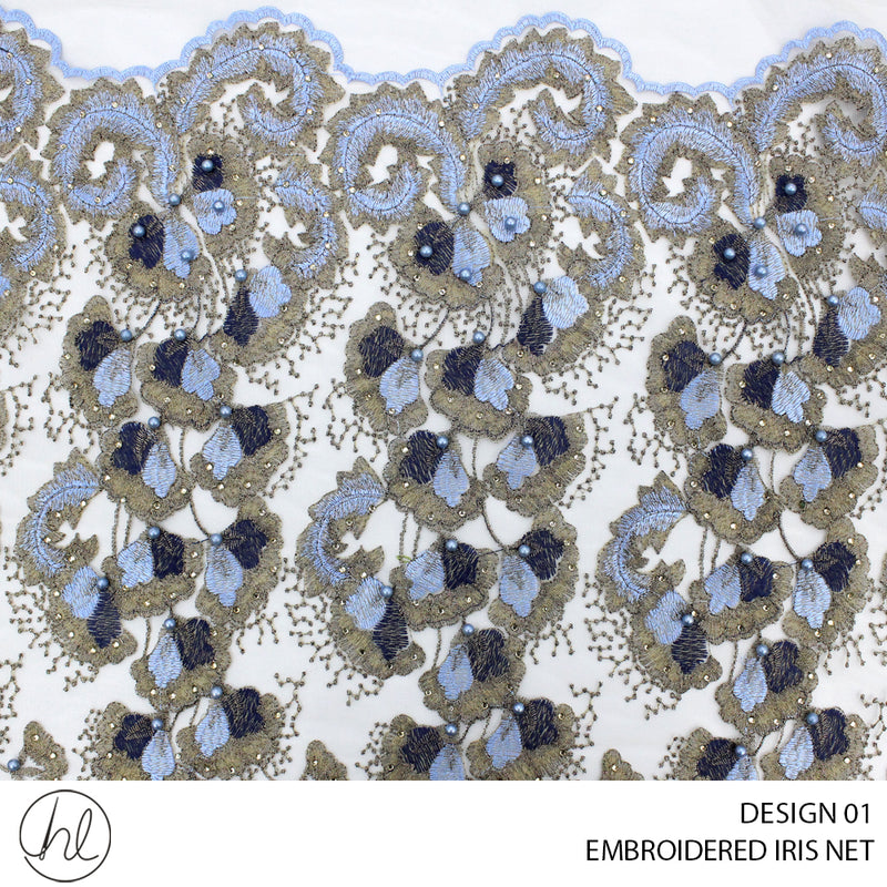 EMBROIDERED IRIS NET (DESIGN 01) (150CM) (PER M)