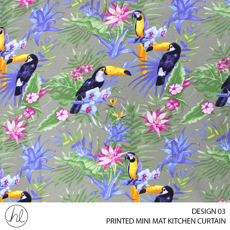 PRINTED MINI MAT READY-MADE KITCHEN CURTAIN (DESIGN 03) (280X120)
