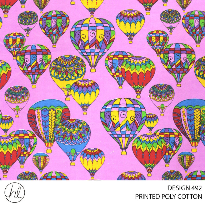 PRINTED POLY COTTON (DESIGN 492) (112CM) (PER M)55