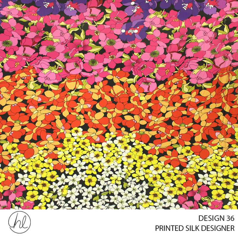 PRINTED SILK DESIGNER (DESIGN 36) (150CM WIDE) (PER M)55