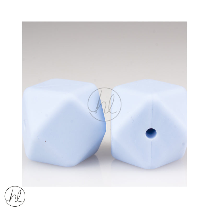SILICONE BEADS BLUE SQUARE 2PER PACK