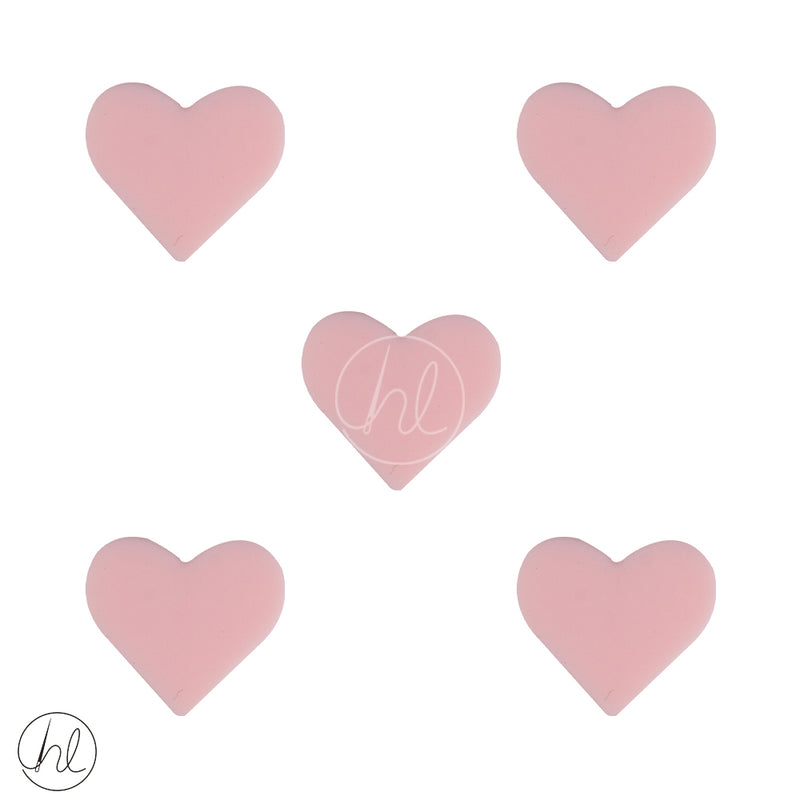 SILICONE BEAD SMALL HEARTS 5 PER PACK LIGHT PINK