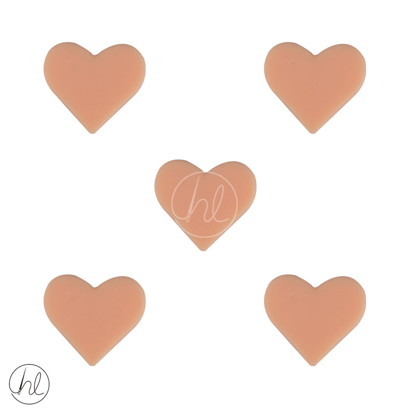 SILICONE BEAD SMALL HEARTS 5 PER PACK ORANGE