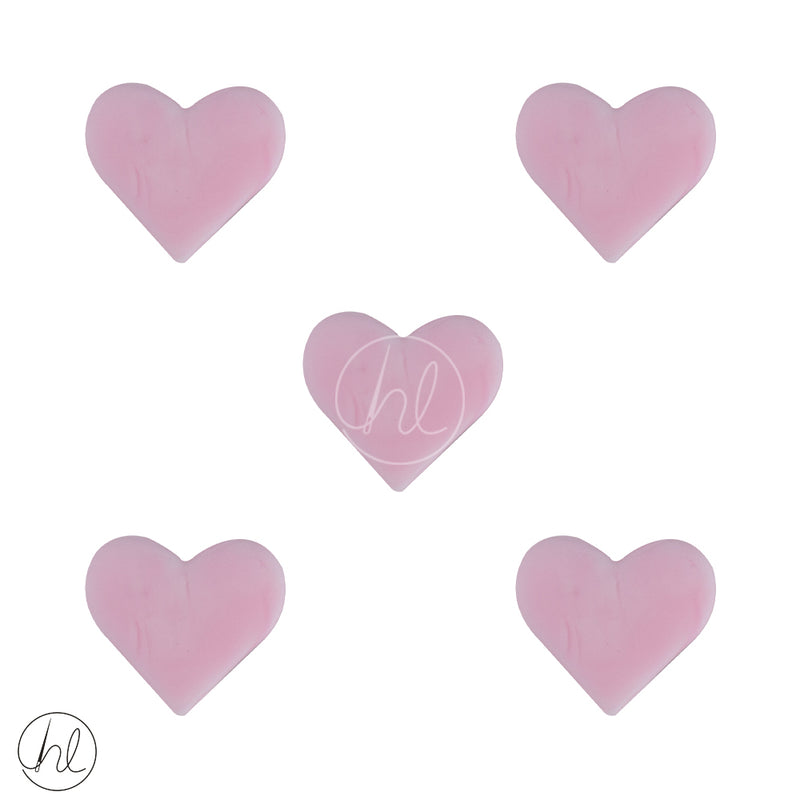 SILICONE BEAD SMALL HEARTS 5 PER PACK PINK