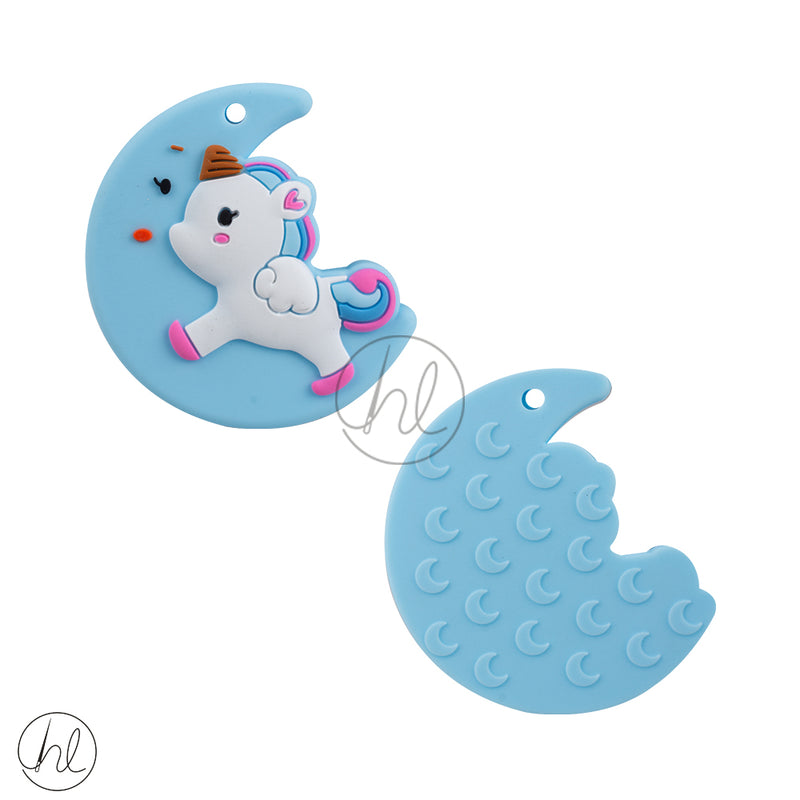 SILICONE BEADS MOON UNICORN BLUE EACH