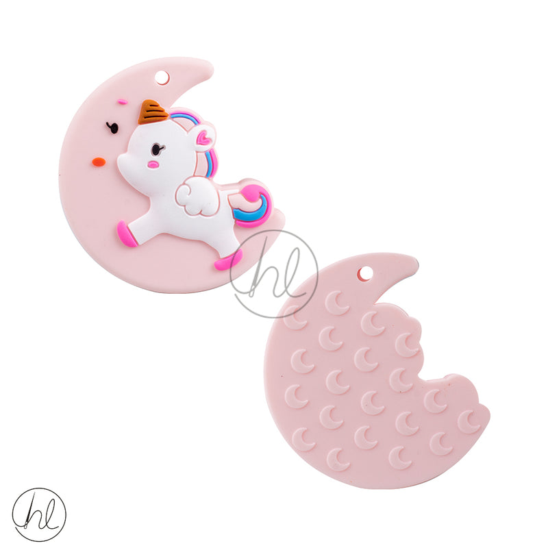 SILICONE BEADS MOON UNICORN PINK EACH