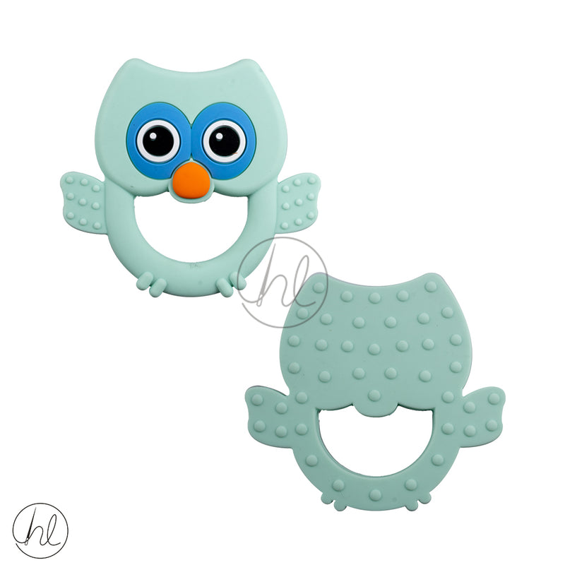 SILICONE BEADS OWL PASTEL GREEN EACH