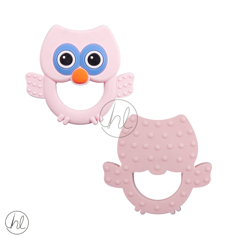 SILICONE BEADS OWL PINK  EACH