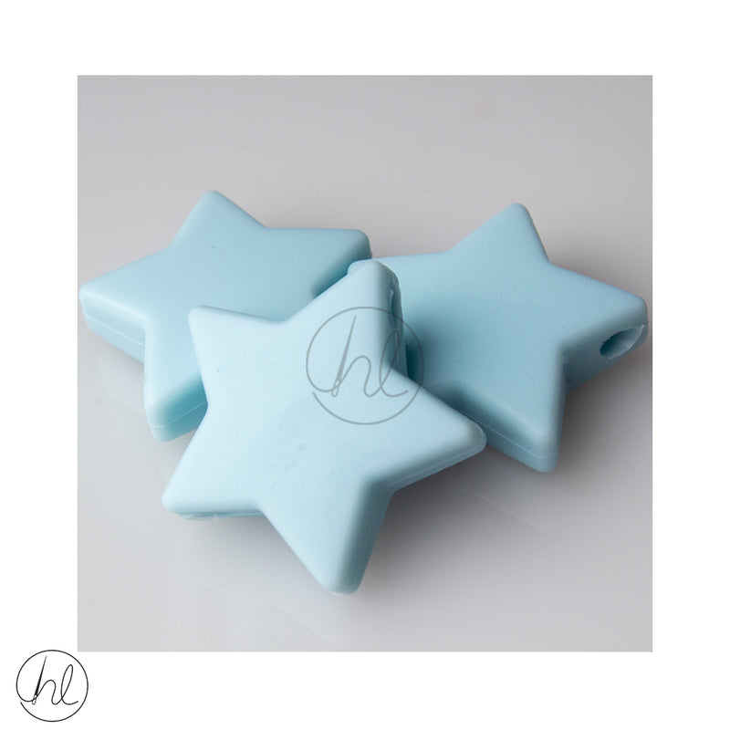 SILICONE STAR LARGE BEADS BLUE 3 PER PACK