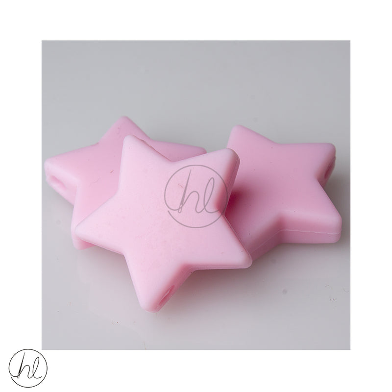 SILICONE STAR LARGE BEADS PINK 3 PER PACK