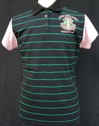 Alpha Kappa Alpha Striped Polo Shirt