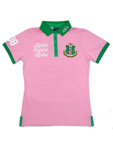 Alpha Kappa Alpha Pink and Green Polo