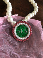 Alpha Kappa Alpha Pearl Necklace with Pink & Green Medallion